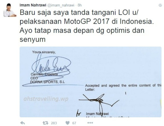 motogp - LOI motogp Indonesia 2017 signed