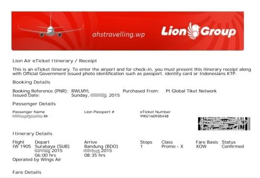 tiket lion bandung